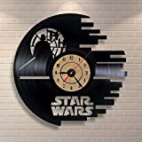 Novedoso diseño moderno Star Wars reloj de pared de vinilo