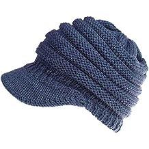 Chapeaux tricotés pour Les Femmes Hiver Chaud Bonnet Doux Bonnets Chapeau  de Queue de Cheval Casquette 094b8ca6055