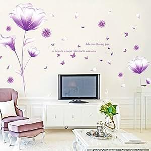 ufengke sch n lila blumen wandabziehbilder wohnzimmer schlafzimmer entfernbare wandtattoos. Black Bedroom Furniture Sets. Home Design Ideas