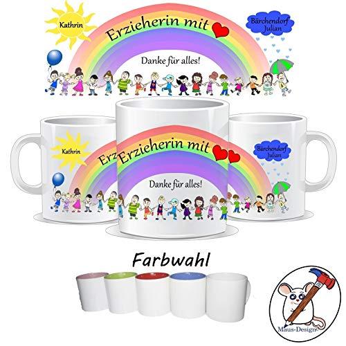 Tasse für die Erzieherin mit Herz/Danke für alles/Personalisierbar mit dem Namen des Kindes, der Gruppe und der Erzieherin/GESCHENKIDEE ERZIEHER/IN/Tasse Erzieherin/Tasse Erzieher (Bild Mir Lesen)