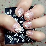 Zeagro 30Fogli Disegno Floreale Bianco 3D Nail Art Adesivi Decalcomanie per Manicure Decorazione Bella Accessori Moda