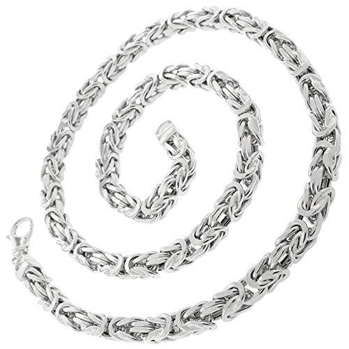 Valone Italienische Königskette rhodiniert 925 Sterling Silber vierkant Kette Collier 3,5 mm, 60 cm