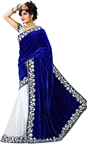 Livato Embroidered, Solid Self Design Bollywood Velvet & Net Saree