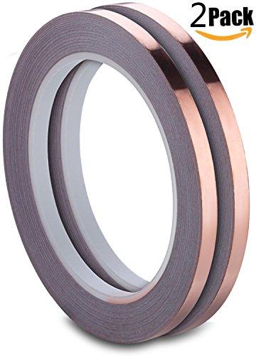 kupfer-klebeband-pemotech-verpackung-von-2-kupfer-folie-klebeband-mit-leitfahigem-klebstoff-635mm-x-