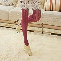 Preisvergleich für Hot Socks Frauen Mädchen Sexy hohle Spitze Netzstrümpfe Strumpfhosen Strümpfe - Rotwein