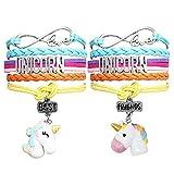 VAMEI 2pcs Pulsera de Cuero Multicapa Rainbow Unicorn Pulsera Trenzada Hecha a Mano Best Friend Pulseras Ajustables de Cuero