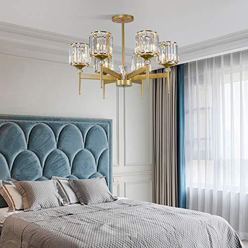 FEE-ZC Kronleuchter Kristall Gold, Deckenleuchte Pendelleuchte 110v 220v Modernen Glasschirm Gold Schlafzimmer Wohnzimmer Esszimmer E14 Steckdose -
