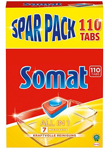 Somat 7 All in 1: Sparpack mit 110 Spülmaschinen-Tabs für eine kraftvolle Reinigung, inkl....