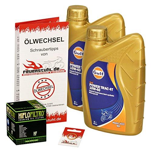 Gulf 10W-40 Öl + HiFlo Ölfilter für Yamaha Raptor 700 /SE (YFM 700 R), 06-15 - Ölwechselset inkl. Motoröl, Filter, Dichtring