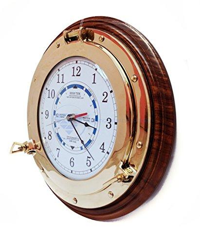 Nautisches Zeit Tide Uhr mit Messing Bullauge & Holz Boden-Captain Maritime Strand Home Decor Geschenk-Nagina International, holz, White ,blue , black ,red, 25,40 cm (Nautische Uhr)