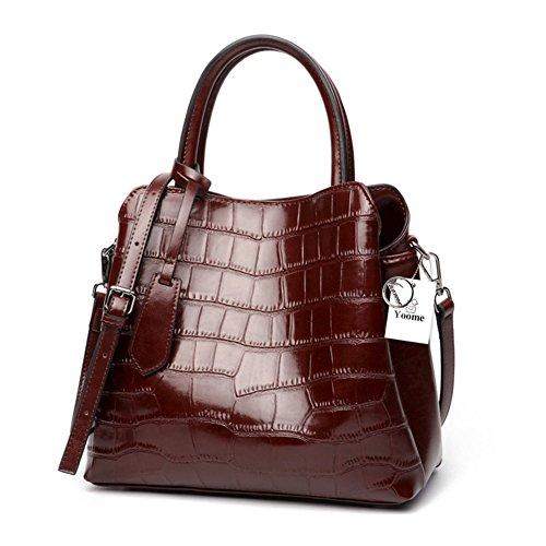 Yoome Klassische Damen Krokodil Geprägtes Leder Umhängetasche Damen Top-Griff Handtaschen Echtes Leder Geldbörse - Burgund - Krokodil Geprägtes Leder Handtasche