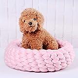 HJL&XD Katzenbett Pet Bett Kissen Hundebett Katzenhaus, Handbuch Grobe Wolle Vorbereitung von Katzenstreu Bequem und Warm(Durchmesser 40cm)