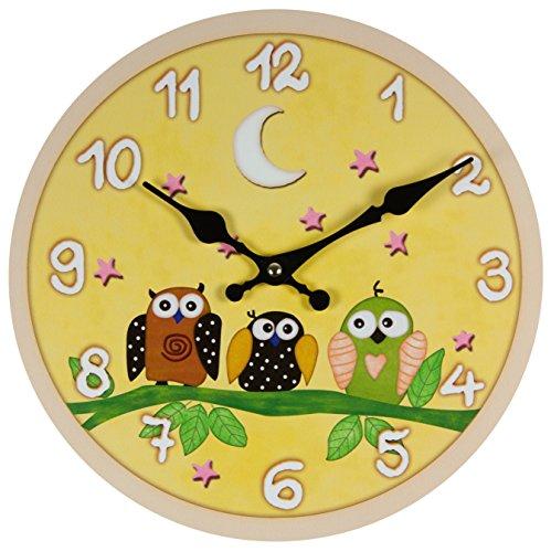 Perla PD Diseño reloj de pared Niños Reloj Vintage Diseño Búho aprox. 28cm de diámetro