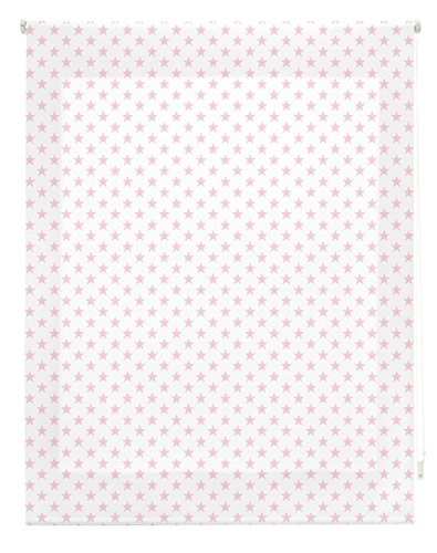 Blindecor Stars Estor Enrollable, Tela, Blanco con Estrellas Rosa, 160 x 180 cm