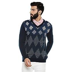 Duke Men Solid Sweater D.Navy Coloured Small