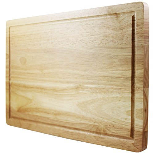 Latest Wooden Chopping Board - Best Rated Hardwood Cutting Block - Large 40 x 25cm Kitchen Tool - Stronger Than Plastic Ware Or Bamboo Appliances - Approved by Butchers