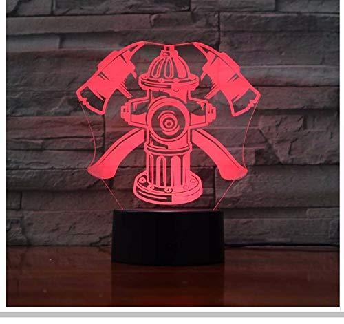 7 Farben Ändern Visuelle Led Kinder Touch Taste 3D Feuer Werkzeuge Modellierung Nachtlichter Usb Schreibtischlampe Feuerwehrmann Schlafzimmer Schlaf Dekor