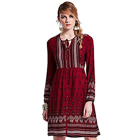 Bohoartist Pullover Red Floral Lace up Long Sleeve Single-Breasted Flower Print Day Short Dress (L)