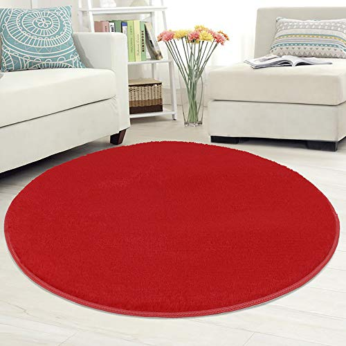 Iulalula - tappeto circolare, morbido, tappeto decorativo per soggiorno, camera da letto, stanza da gioco per bambini (100cm diametro) red
