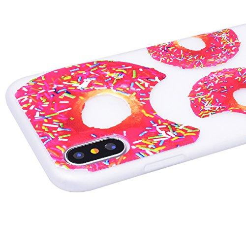 HB-Int für iPhone X Hülle Silikon Transparent Licht Durchlässig Ultra Dünn Schutzhülle Meow Muster Flexible Case Bumper Shell Handytasche Donuts