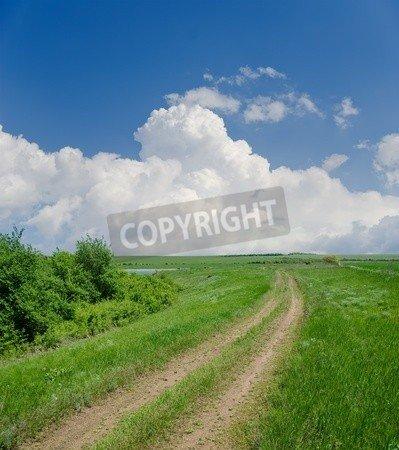 """Poster-Bild 90 x 100 cm: """"rural road under clouds"""", Bild auf Poster"""