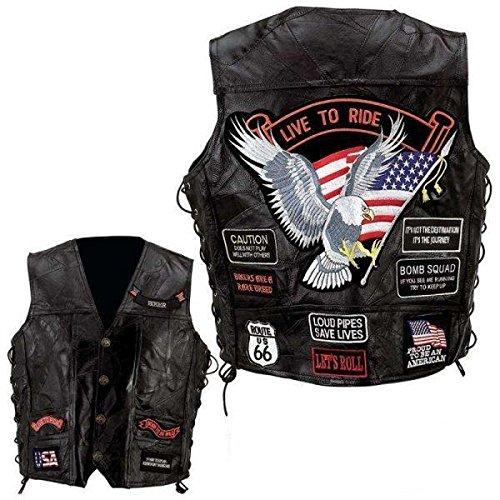 Espace-Biker - Gilè da motociclista in pelle, taglia XL