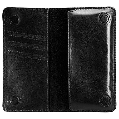 Jisoncase STYLISCH Geldbörse Originalität des Design Hülle für Handy, Herr, Damen, Leder, schwarz, JS-BAO-01Q10 schwarz