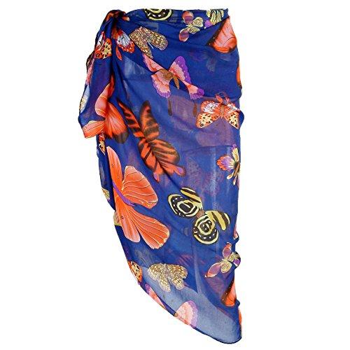 CHIC DIARY Damen Frauen elegant Sarong Pareo Strandtuch Bikini Wickelrock Wickeltuch farbig geblümt gedruckt strand Schal Halstuch