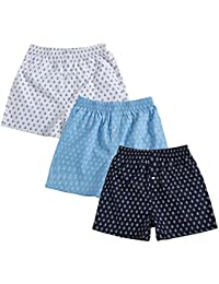 The Cotton Company Men's Cotton Printed Boxer Shorts - Pack of 3 - Anchor