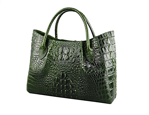Jsix Borse in Vera Pelle Borse a Tracolla Donna Croc Paten Designer Verde