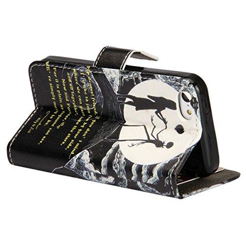 Etsue für Apple iPhone 5C schwarz Ledertasche Leder Hülle Schutzhülle Muster, Elegant Bunte Retro Painted Bookstyle Wallet Case Flip Tasche Brieftasche Leder Case Hülle mit Magnetverschluss Standfunkt Mädchen Schädel Liebe