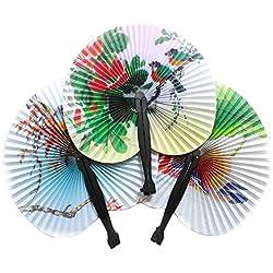 Vi.yo 12 Stücke Faltbar Handfächer für Event Party Hochzeit Dekoration Handwerk Frauen Tanzen Fan Zufällige Farbe