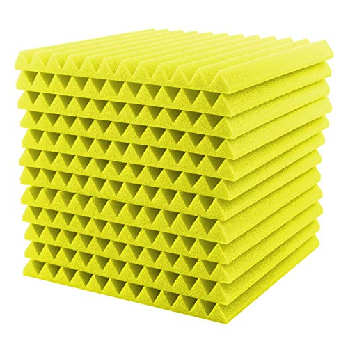 Surenhap Akustikschaumstoff, 12Pcs Schalldämmung Akustikplatten Studio Foam Wedges, 30 * 30 * 2,5cm (Gelb)