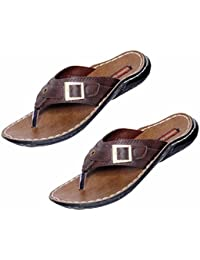 Indistar Boy 100 % PU Flip Flop House Slipper And Sandal-Brown- Pack Of 2 Pairs - B072FCKBMM