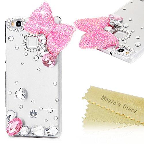 maviss-diary-huawei-p9-lite-handmade-hlle-rosa-bling-bogen-und-rosa-transparent-diamant-hartschale-g