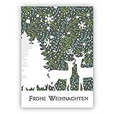 1 Weihnachtsgruß: Romantische Weihnachtskarte mit Rehen und Wald in grau: Frohe Weihnachten • als festliche Grusskarte zum Jahreswechsel für Familie und Firma