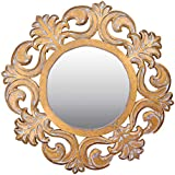 Meher Creation Golden Color Wooden Hand Carved Wall Mirror/Makeup Mirror/Decorative Wall Mirror (Size :- 36 X 36 X 1.5 Inches)