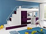 Furnistad | Hochbett für Kinder Sun | Kinderhochbett mit Treppe, Schreibtisch, Schrank und Gästebett (Option links, Weiß + Violett)
