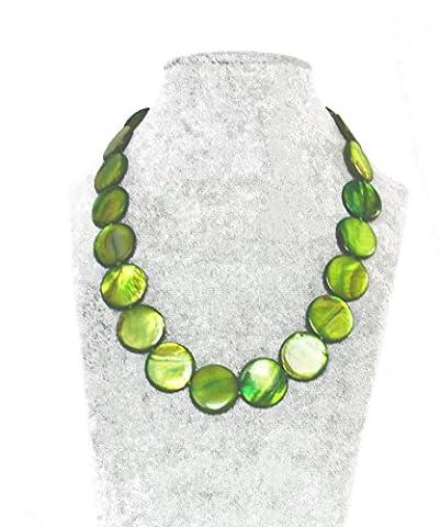 Femme Collier Nacre Jade vert rond plat