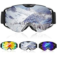 Ski Goggles- Double Lens OTG Skiing Goggles with Anti-fog and 100% UV Protection Professional Ski Snowboard Goggles for Men Women Ladies Teenager