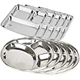 King International 100% Stainless Steel Silver Three Compartment Dinner Plate And Four Compartment Dinner Plate | Stainless Steel Plate | Mess Trays Great For Camping Set Of 10 Pieces