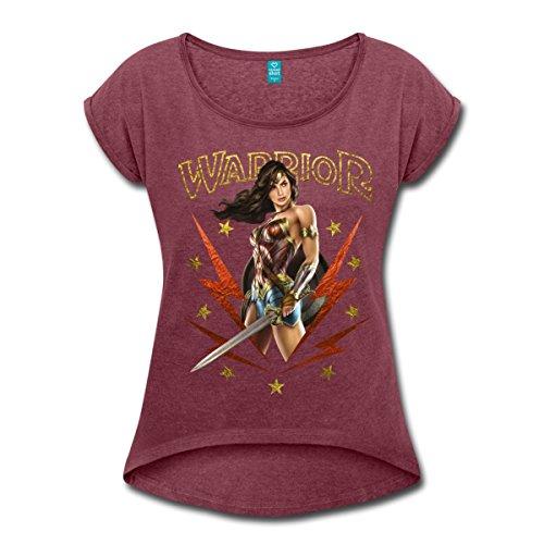 Spreadshirt Warner Bros Wonder Woman Guerrière Warrior T Shirt à Manches retroussées Femme, XL (42), Rouge Bordeaux chiné