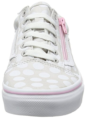 Vans Mädchen Uy Old Skool Zip Sneakers Grau (Polka Dot Wind Chime/pink Lady)