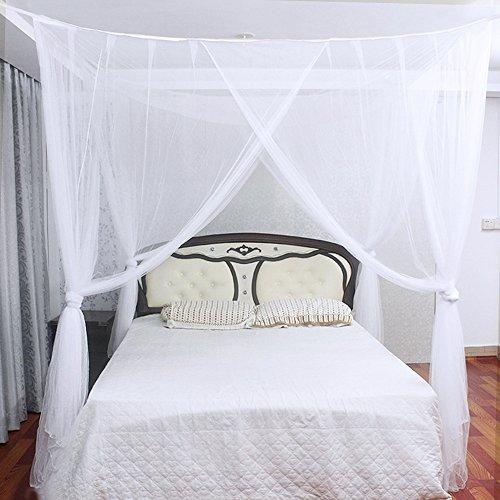 Jtdeal mosquitera para cama 4 esquinas adecuado para cama for Cama individual blanca