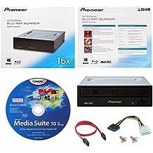 Pioneer BDR-2209 16X interna Blu-ray BDXL DVD CD Burner Drive escritor en caja al por menor con Cyberlink Media Suite de Software + Cables y tornillos de montaje