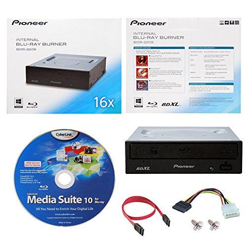 Pioneer BDR-2209 16X Internal Blu-ray BDXL DVD CD Burner Writer-Laufwerk in Kleinkasten mit Cyberlink Media Suite Software + Kabel und Befestigungsschrauben