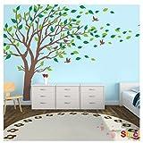 Zhide Wandtattoo Großen Baumwandaufkleber grünen Baum weht im Wind Baum herausnehmbare Wand-Aufkleber Wandsticker für Wohnzimmer Schlafzimmer Kinderzimmer Braun (300*180cm/118.11*70.87inch)