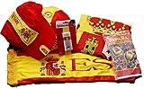Euroxanty-Lote de la Selección Española - Bandera/Pintura de Cara/Gorra/Pelota/Bufanda para Coche + Regalo Sorpresa de España