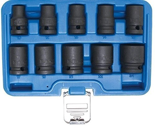 BGS 5205 Kraft-Steckschlüssel Einsätze Nüsse 10-24mm Antrieb 12,5 (1/2) 10 teiliger Satz für Schlagschrauber