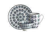 Mäser, Serie Bilbao, Frühstücksset 18-teilig, Geschirr-Set für 6 Personen, dekoriert in den Farben Blau und Weiß